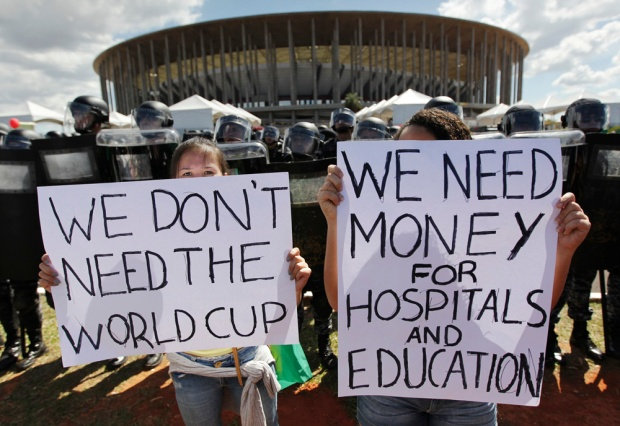 Despite not receiving much international media coverage, many Brazilians protested the lavish costs of hosting FIFA's flagship event in Brazil.